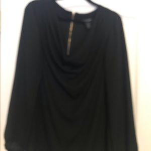 Lane Bryant EUC black drape neck blouse